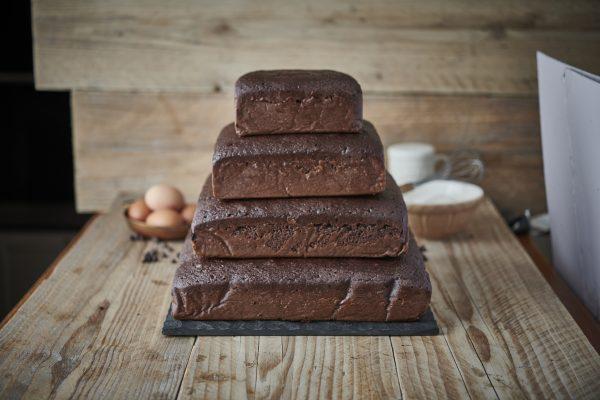 Square Chocolate Cake Stack